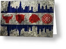 Chicago Grunge Flag Greeting Card