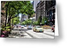 Chicago Hailing A Cab In June Greeting Card