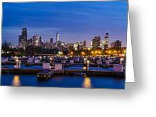 Chicago Harbor View At Night Greeting Card