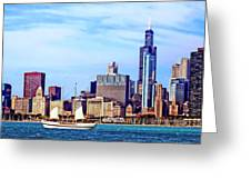 Chicago Il - Schooner Against Chicago Skyline Greeting Card