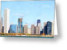 Chicago Illinois Skyline Painterly Triptych Plate Three Of Three 20180516 Greeting Card