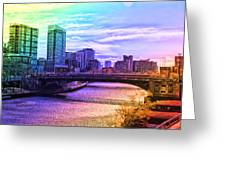Chicago In November Chicago River South Branch Pa Rainbow 02 Greeting Card