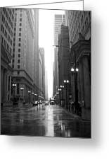 Chicago In The Rain 2 B-w Greeting Card
