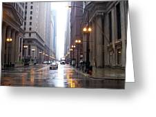 Chicago In The Rain Greeting Card