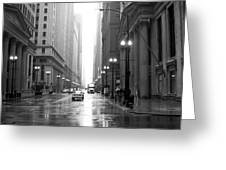Chicago In The Rain B-w Greeting Card