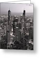 Chicago Loop Sundown B And W Greeting Card