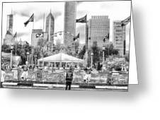Chicago Nfl Draft Town 2016 Bw Greeting Card