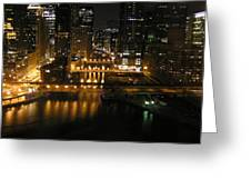 Chicago Night River Scene Greeting Card