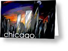 Chicago Night Skyline Greeting Card