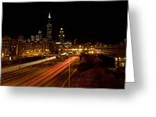 Chicago Night Skyline Greeting Card