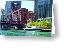 Chicago Parked By The Clark Street Bridge On The River Greeting Card