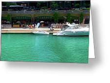 Chicago Parked On The River Walk Panorama 01 Greeting Card