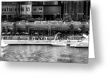 Chicago Parked On The River Walk Panorama 02 Bw Greeting Card
