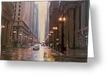 Chicago Rainy Street Greeting Card