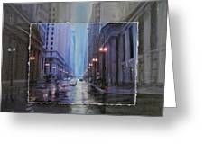 Chicago Rainy Street Expanded Greeting Card by Anita Burgermeister