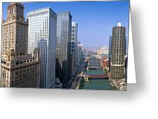 Chicago River, Aerial Shot, Illinois Greeting Card