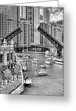 Chicago River Boat Migration In Black And White Greeting Card