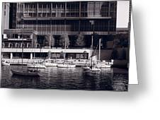Chicago River Boats Bw Greeting Card