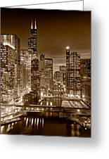 Chicago River City View B And W Greeting Card