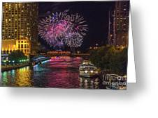 Chicago River Fireworks Greeting Card