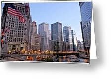 Chicago River From The Michigan Avenue Bridge Greeting Card