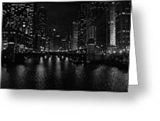 Chicago River Night Skyline Greeting Card