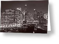 Chicago River Panorama B W Greeting Card