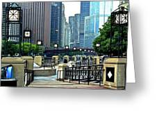 Chicago River Walk Invites You Greeting Card