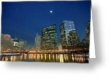 Chicago River With Skyline And Moon Greeting Card