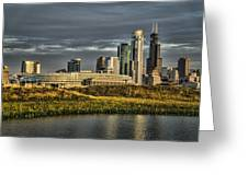 Chicago Skyline And Nature Preserve At Sunrise Greeting Card