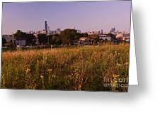 Chicago Skyline And Neighborhood Prairie Greeting Card