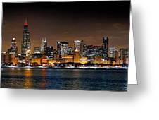 Chicago Skyline At Night Extra Wide Panorama Greeting Card