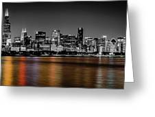 Chicago Skyline - Black And White With Color Reflection Greeting Card