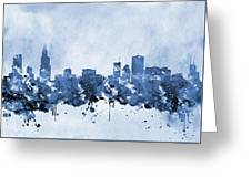 Chicago Skyline-blue 2 Greeting Card