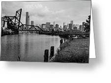 Chicago Skyline From The Southside In Black And White Greeting Card