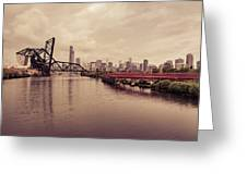 Chicago Skyline From The Southside With Red Bridge Greeting Card