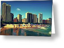 Chicago Summer Skyline At Oak Street Beach Greeting Card