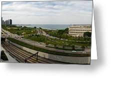 Chicago Skyline Showing Monroe Harbor Greeting Card