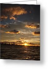 Chicago Skyline Sunset Greeting Card
