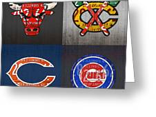 Chicago Sports Fan Recycled Vintage Illinois License Plate Art Bulls Blackhawks Bears And Cubs Greeting Card