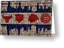Chicago Sports Team Flag On Brick Greeting Card