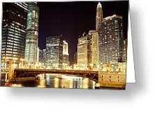 Chicago State Street Bridge At Night Greeting Card