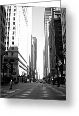 Chicago Street With Flags B-w Greeting Card