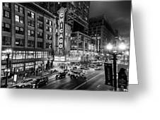 Chicago Theater In Black And White Greeting Card
