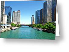 Chicago Tour Boats Parked On The River Greeting Card