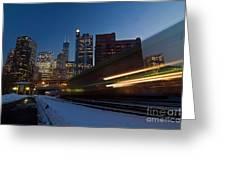 Chicago Train Blur Greeting Card by Sven Brogren