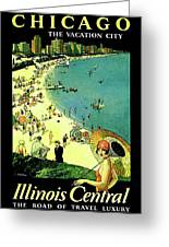 Chicago, Vacation City, Areal View On The Beach Greeting Card