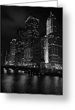 Chicago Wacker Drive Night Portrait Greeting Card