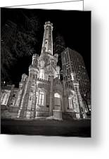 Chicago Water Tower Greeting Card by Adam Romanowicz