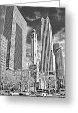 Chicago Water Tower Shopping Black And White Greeting Card